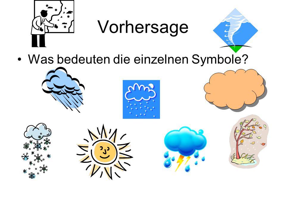 Vorhersage Was bedeuten die einzelnen Symbole