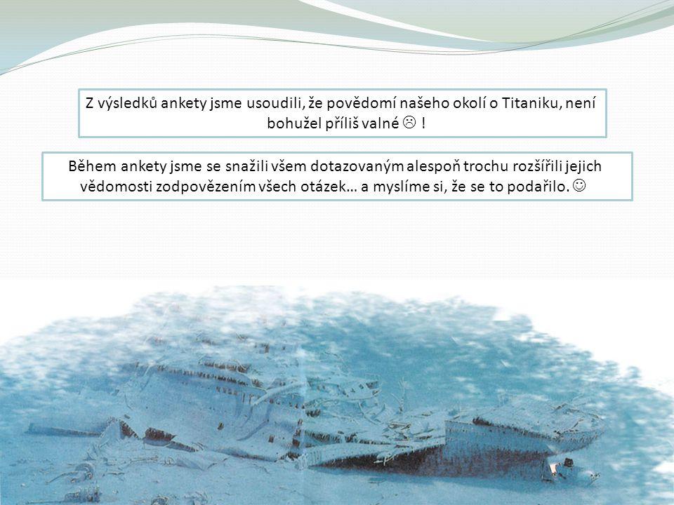 Z výsledků ankety jsme usoudili, že povědomí našeho okolí o Titaniku, není