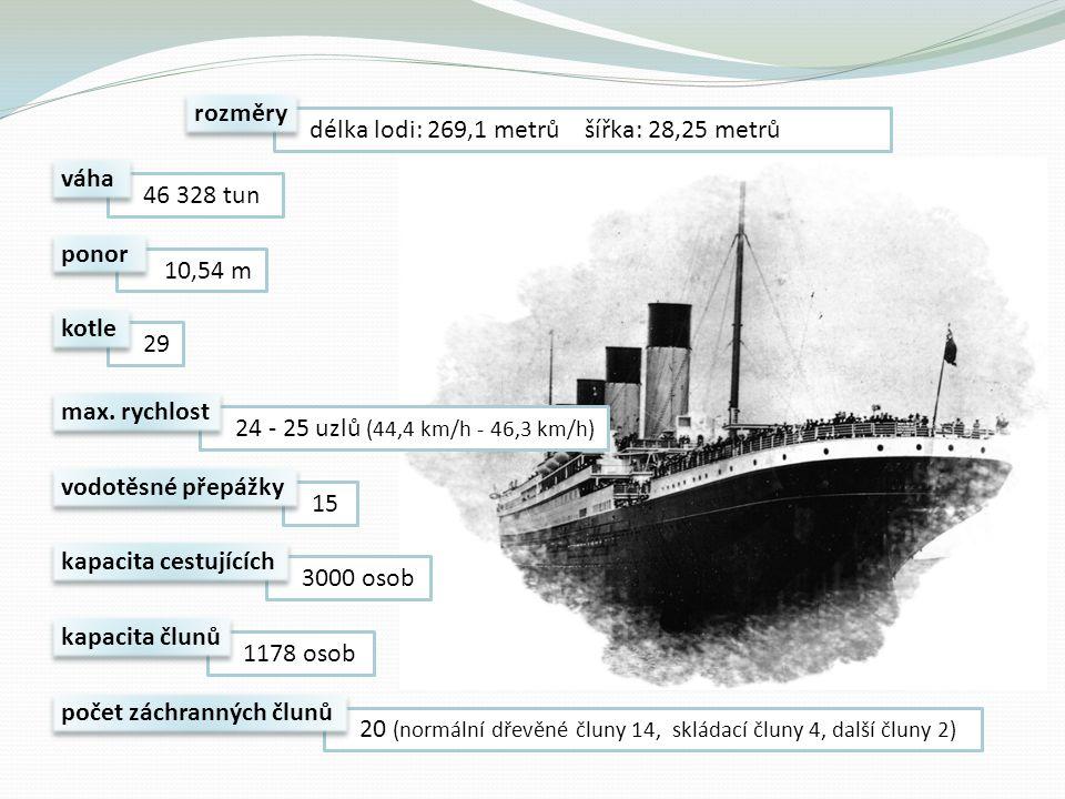 rozměry délka lodi: 269,1 metrů šířka: 28,25 metrů. váha. 46 328 tun. ponor. 10,54 m. kotle.