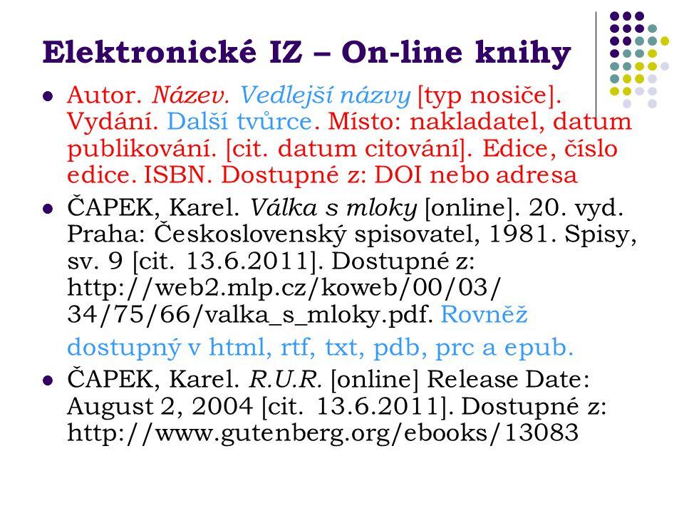 Elektronické IZ – On-line knihy