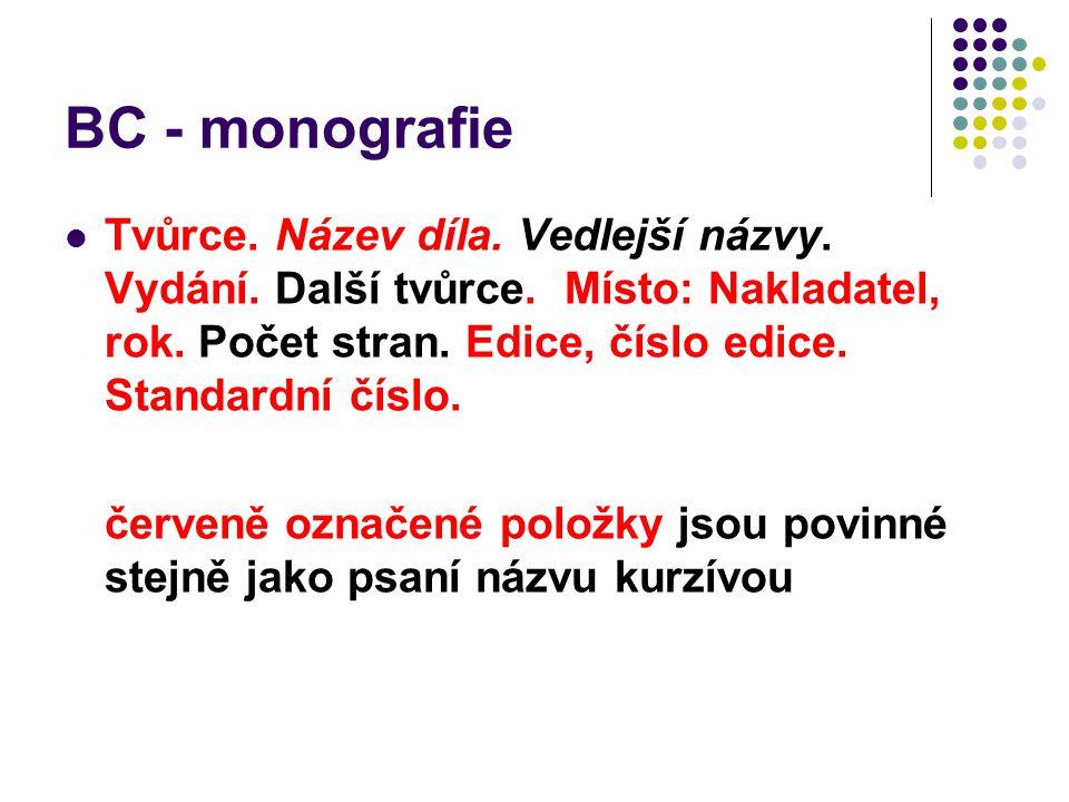 BC - monografie