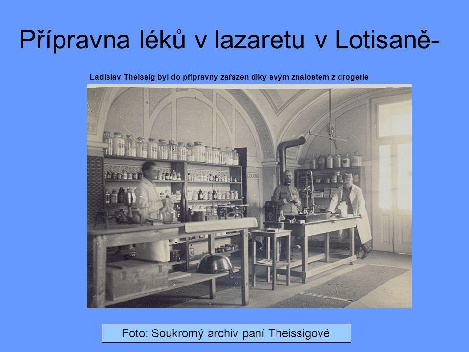 Přípravna léků v lazaretu v Lotisaně- Ladislav Theissig byl do přípravny zařazen díky svým znalostem z drogerie