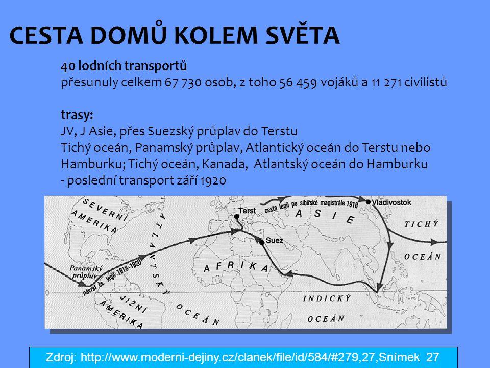CESTA DOMŮ KOLEM SVĚTA 40 lodních transportů