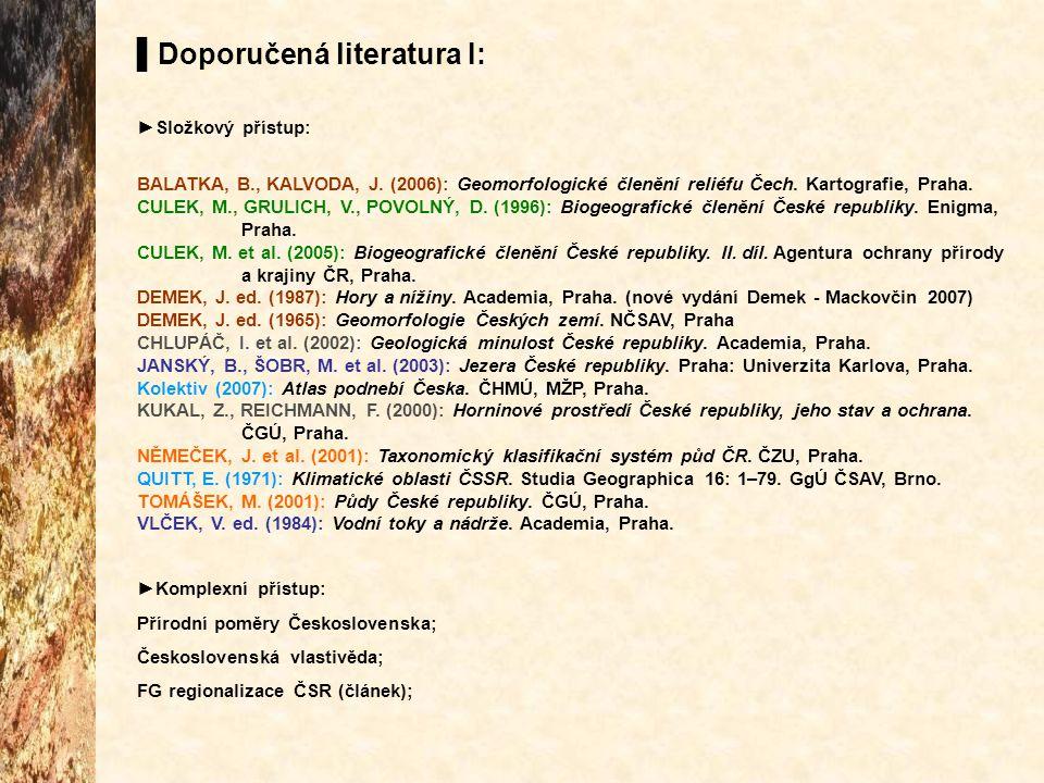 ▌Doporučená literatura I: