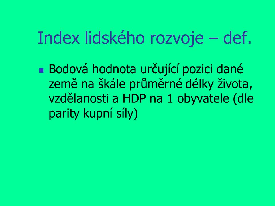 Index lidského rozvoje – def.