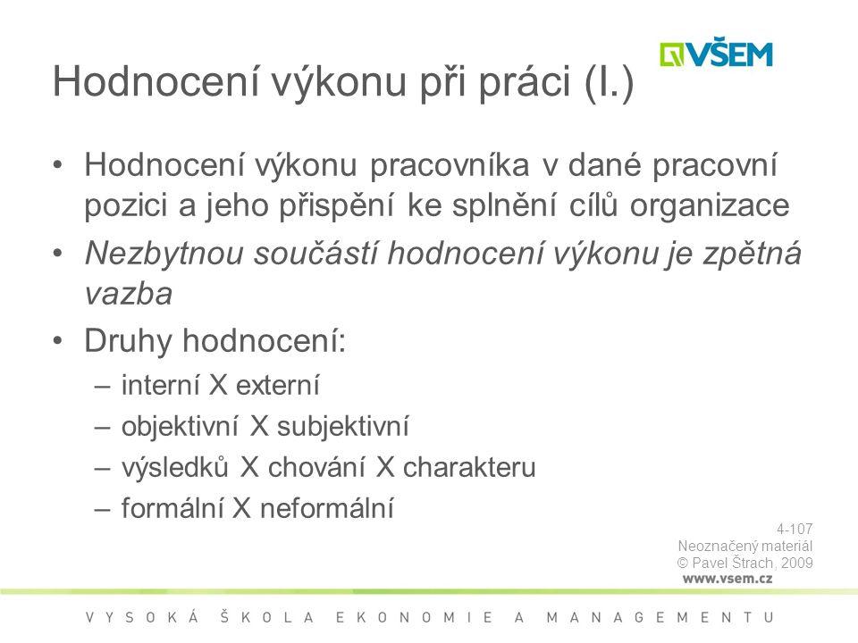 Hodnocení výkonu při práci (I.)