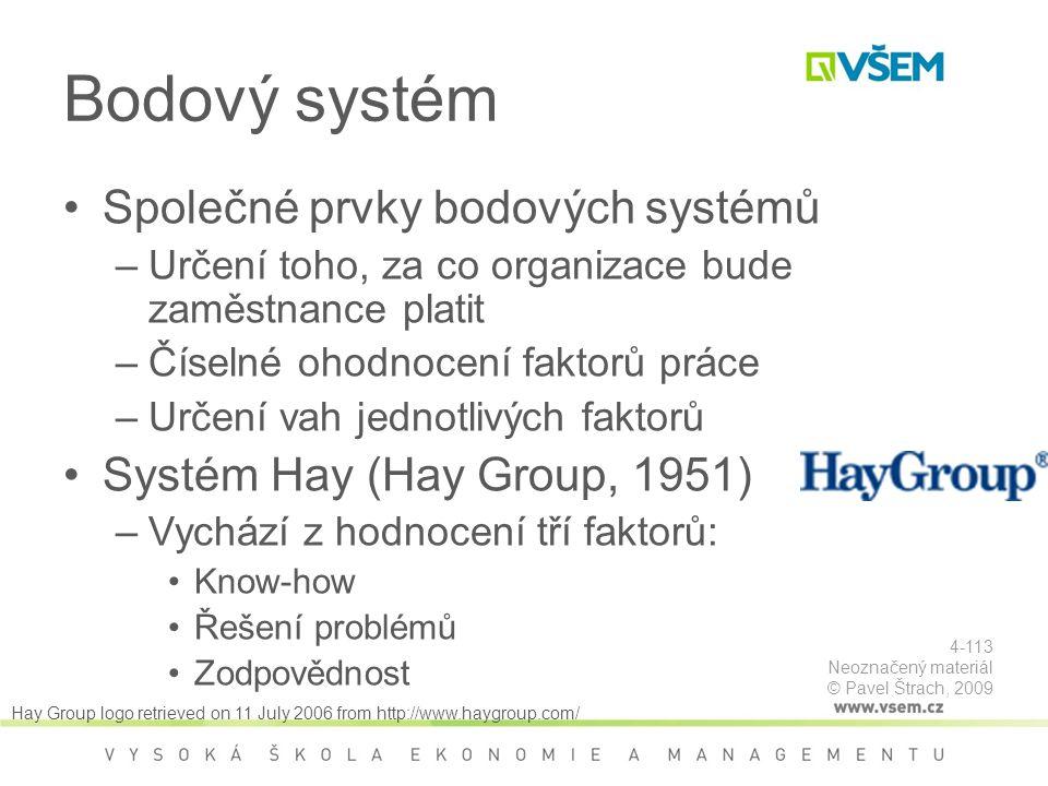 Bodový systém Společné prvky bodových systémů