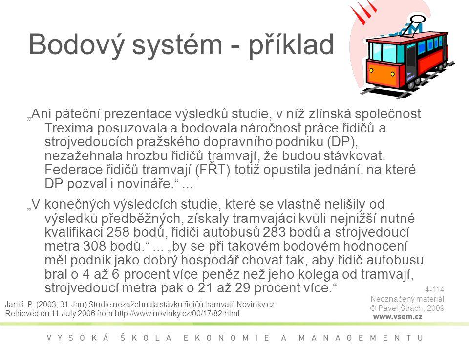 Bodový systém - příklad