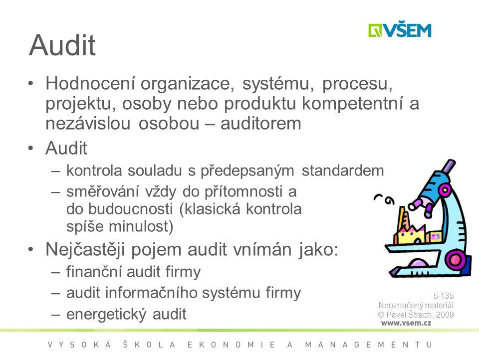 Audit Hodnocení organizace, systému, procesu, projektu, osoby nebo produktu kompetentní a nezávislou osobou – auditorem.