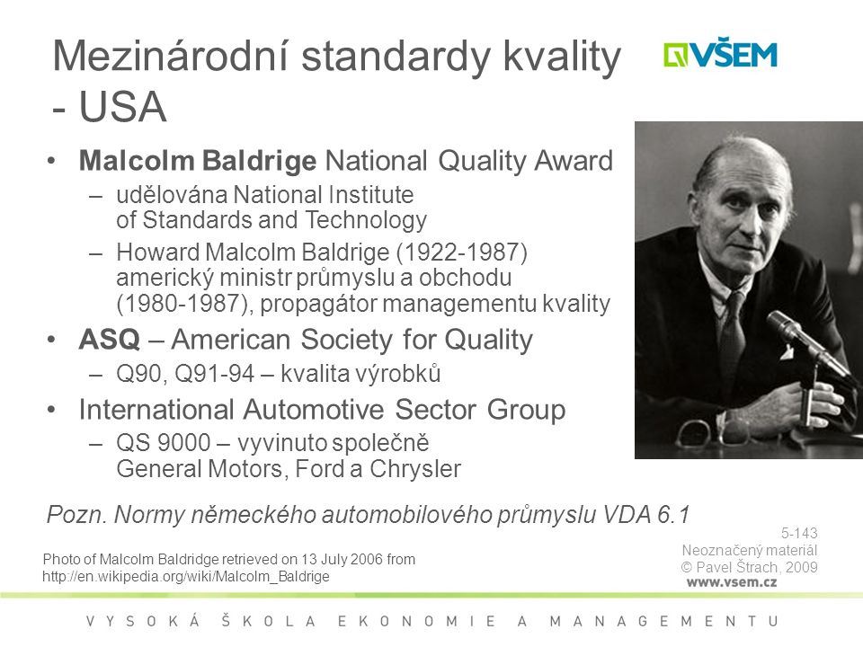 Mezinárodní standardy kvality - USA