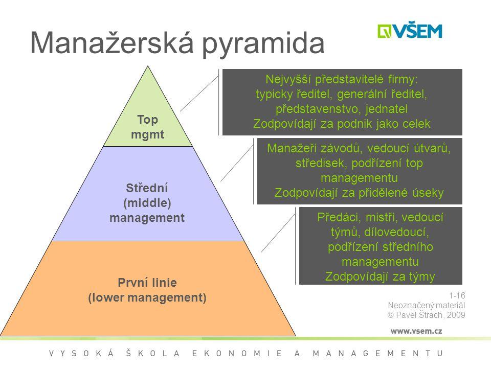 Manažerská pyramida Nejvyšší představitelé firmy: