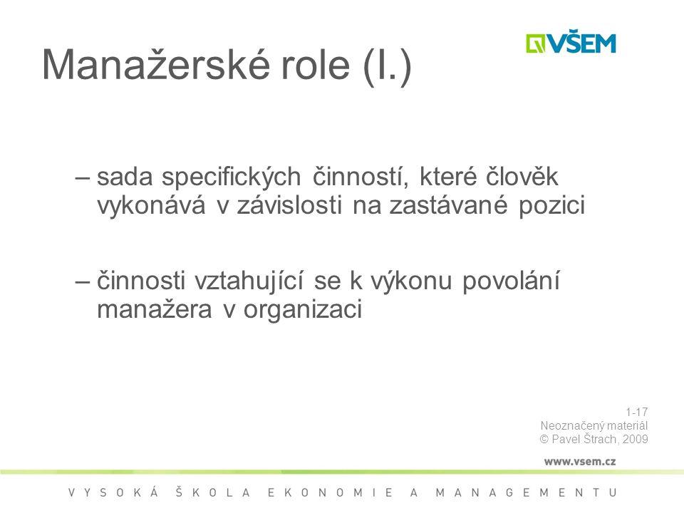 Manažerské role (I.) Role Manažerská role