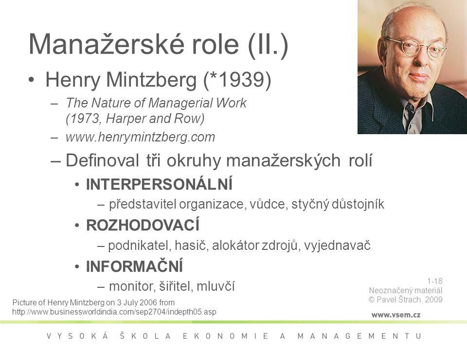 Manažerské role (II.) Henry Mintzberg (*1939)