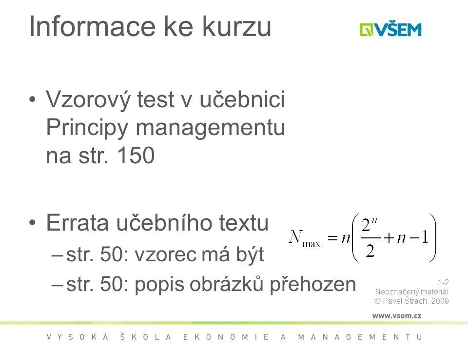 Informace ke kurzu Vzorový test v učebnici Principy managementu na str. 150. Errata učebního textu.