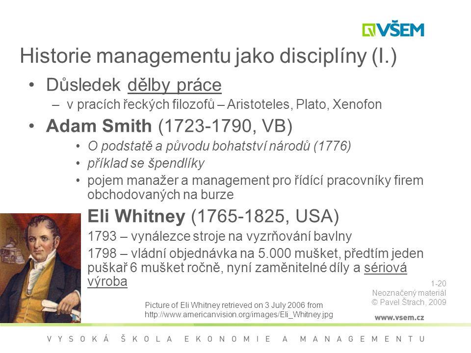 Historie managementu jako disciplíny (I.)