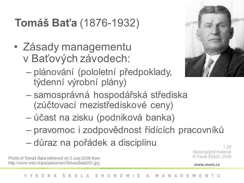 Zásady managementu v Baťových závodech: