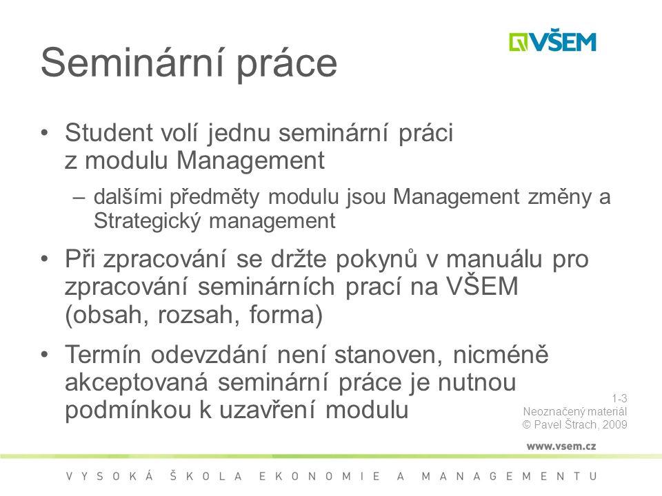 Seminární práce Student volí jednu seminární práci z modulu Management