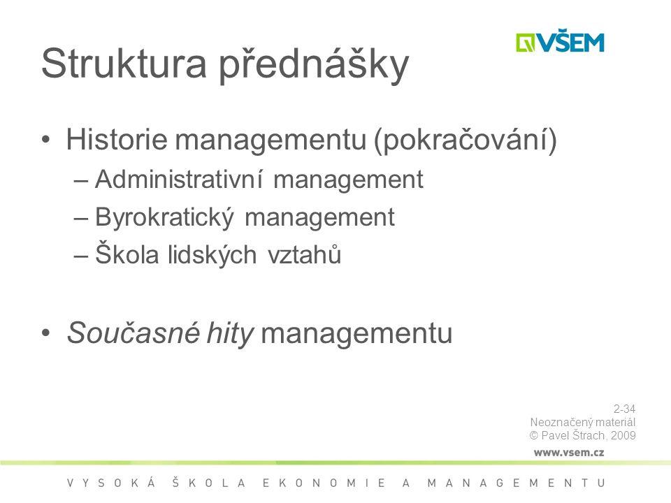 Struktura přednášky Historie managementu (pokračování)