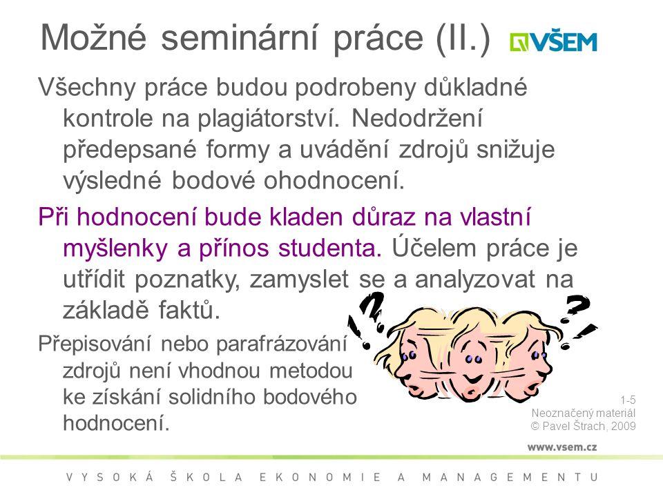 Možné seminární práce (II.)