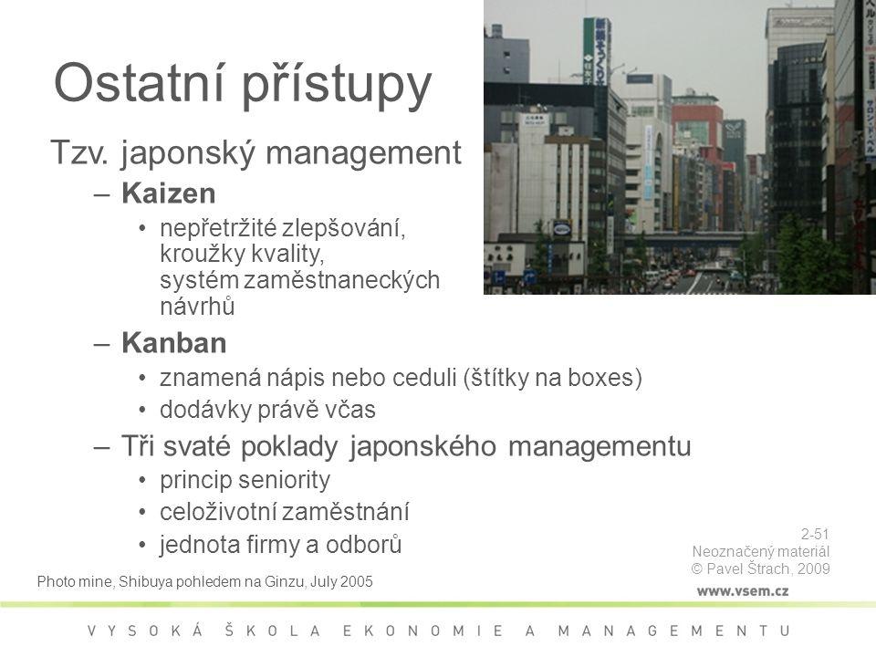 Ostatní přístupy Tzv. japonský management Kaizen Kanban