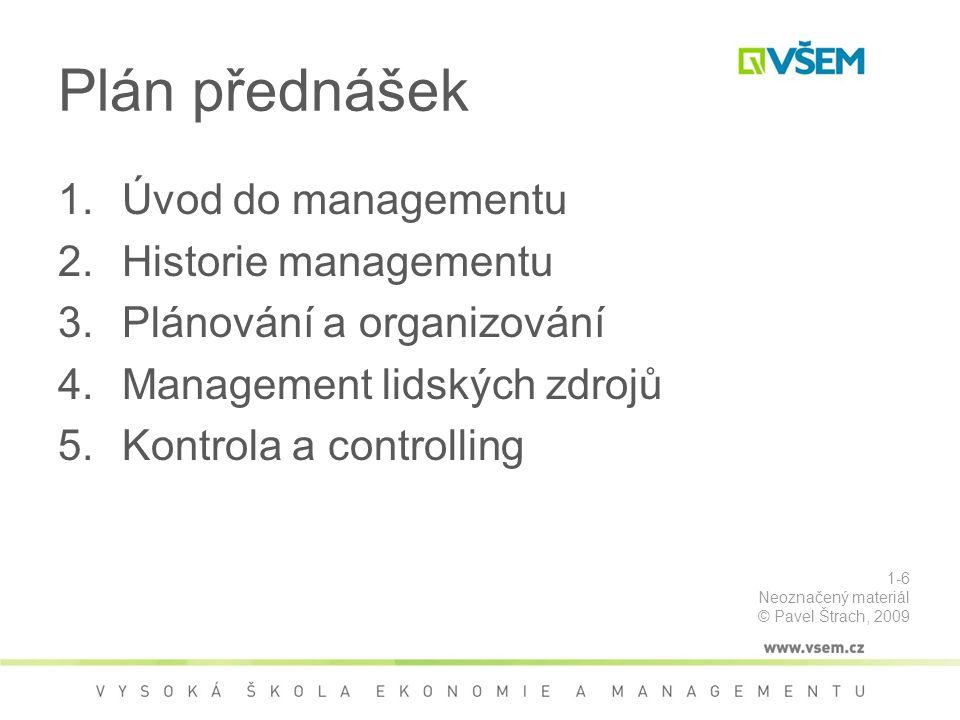 Plán přednášek Úvod do managementu Historie managementu