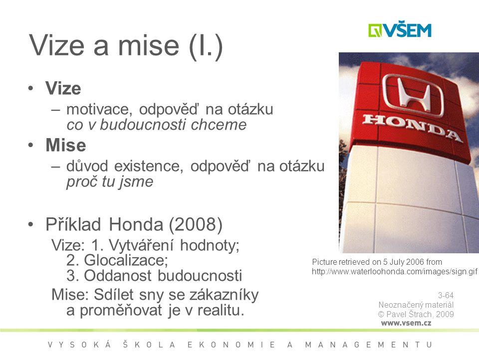 Vize a mise (I.) Vize Mise Příklad Honda (2008)