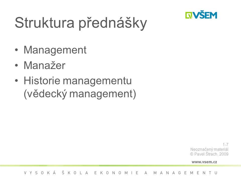 Struktura přednášky Management Manažer