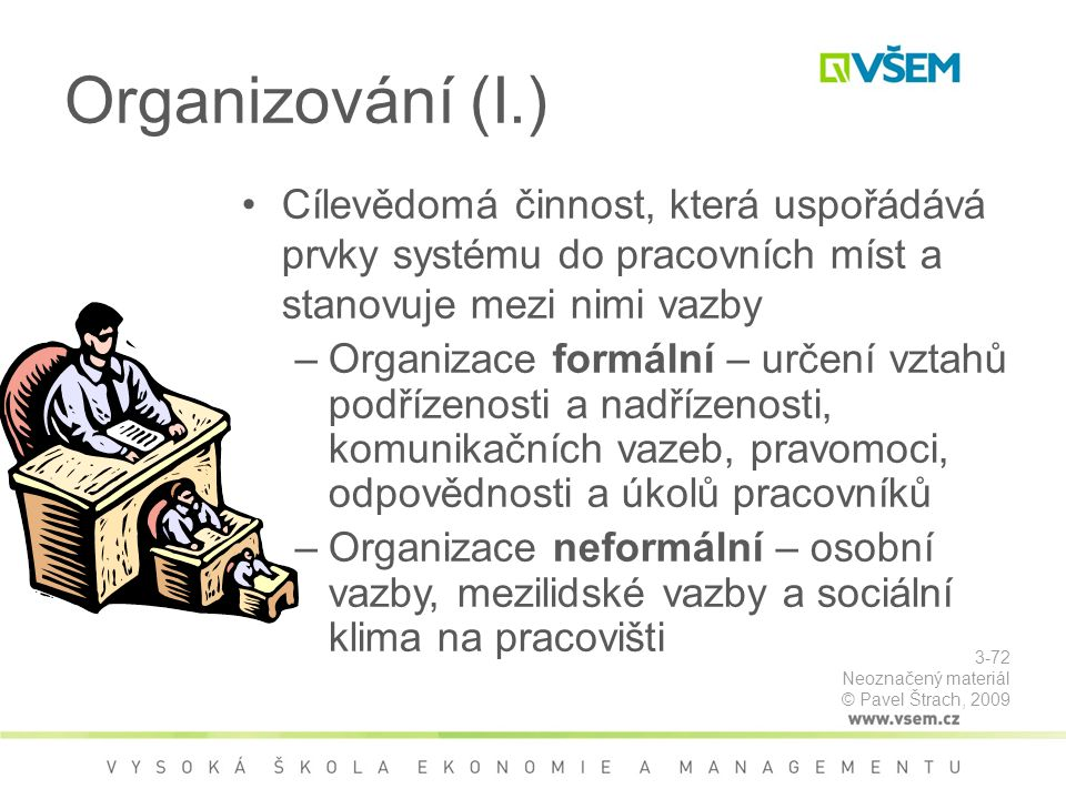 Organizování (I.) Cílevědomá činnost, která uspořádává prvky systému do pracovních míst a stanovuje mezi nimi vazby.