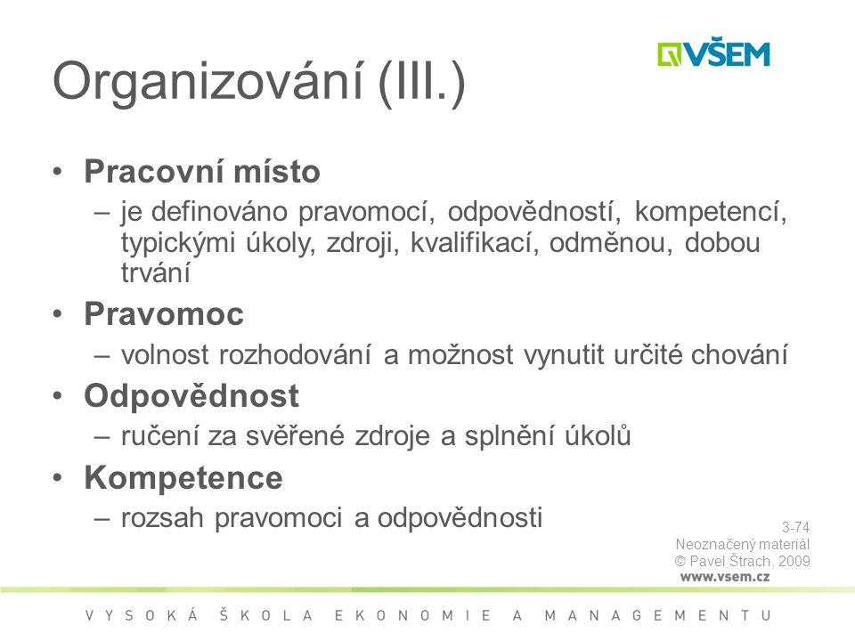Organizování (III.) Pracovní místo Pravomoc Odpovědnost Kompetence