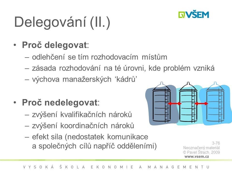 Delegování (II.) Proč delegovat: Proč nedelegovat: