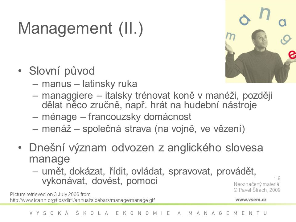 Management (II.) Slovní původ