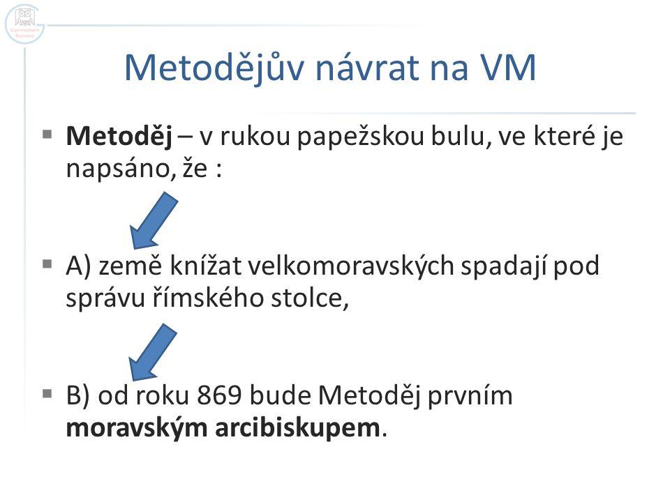 Metodějův návrat na VM Metoděj – v rukou papežskou bulu, ve které je napsáno, že :