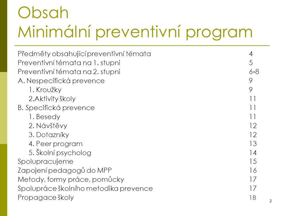 Obsah Minimální preventivní program