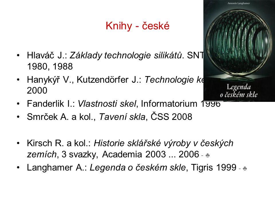 Knihy - české Hlaváč J.: Základy technologie silikátů. SNTL Praha 1980, 1988. Hanykýř V., Kutzendörfer J.: Technologie keramiky, Silis 2000.