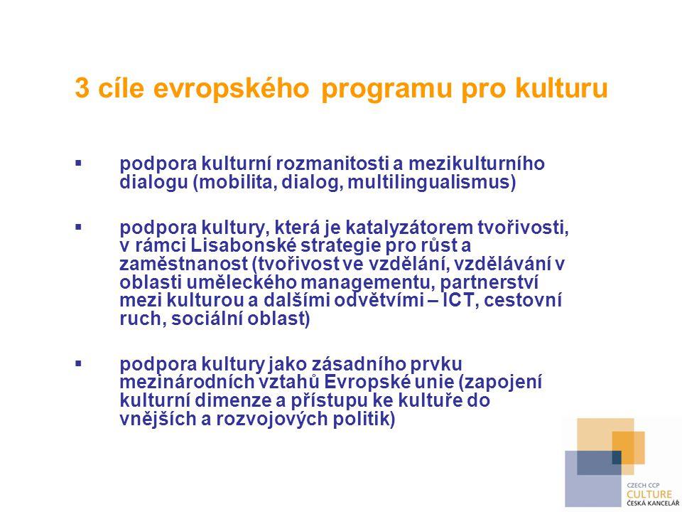 3 cíle evropského programu pro kulturu