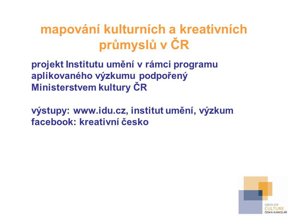 mapování kulturních a kreativních průmyslů v ČR