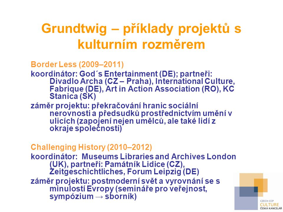 Grundtwig – příklady projektů s kulturním rozměrem