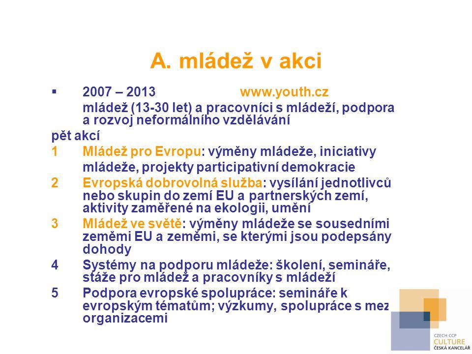 A. mládež v akci 2007 – 2013 www.youth.cz