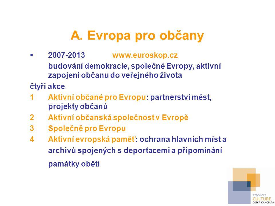 A. Evropa pro občany 2007-2013 www.euroskop.cz