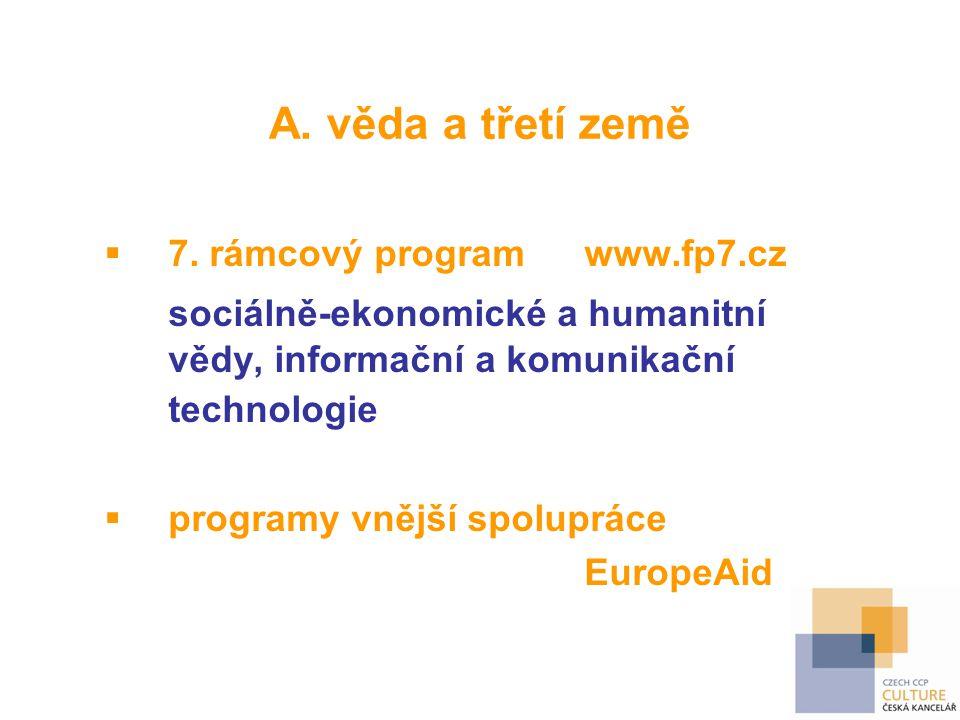 A. věda a třetí země 7. rámcový program www.fp7.cz. sociálně-ekonomické a humanitní vědy, informační a komunikační technologie.