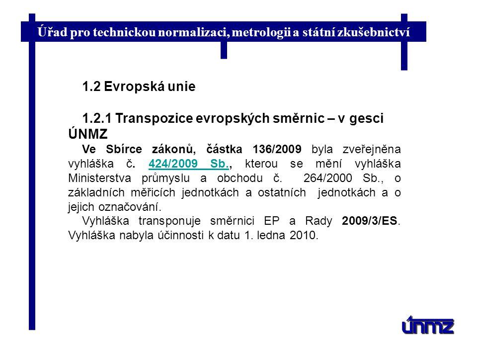 1.2.1 Transpozice evropských směrnic – v gesci ÚNMZ