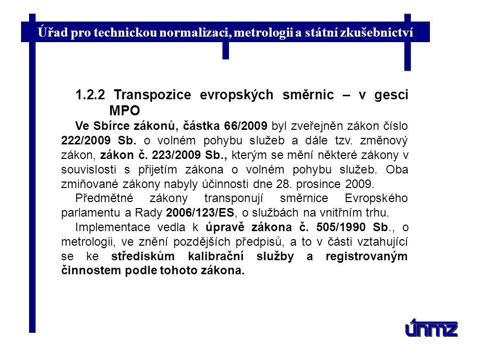 1.2.2 Transpozice evropských směrnic – v gesci MPO