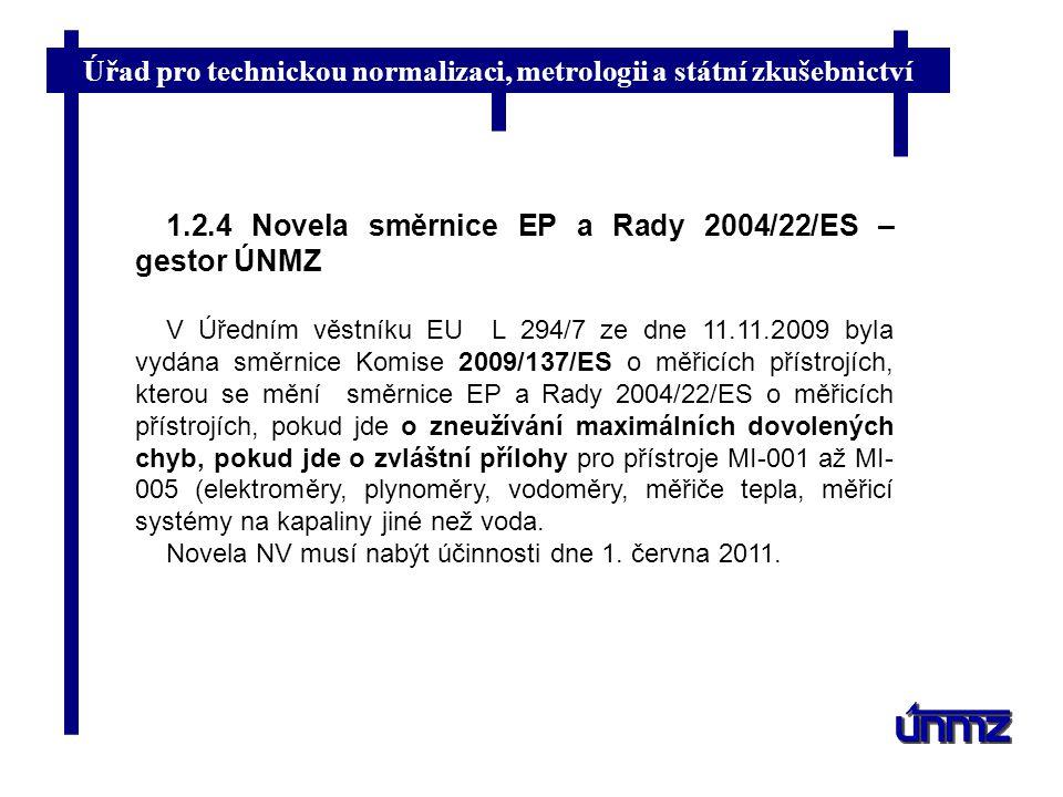 1.2.4 Novela směrnice EP a Rady 2004/22/ES – gestor ÚNMZ