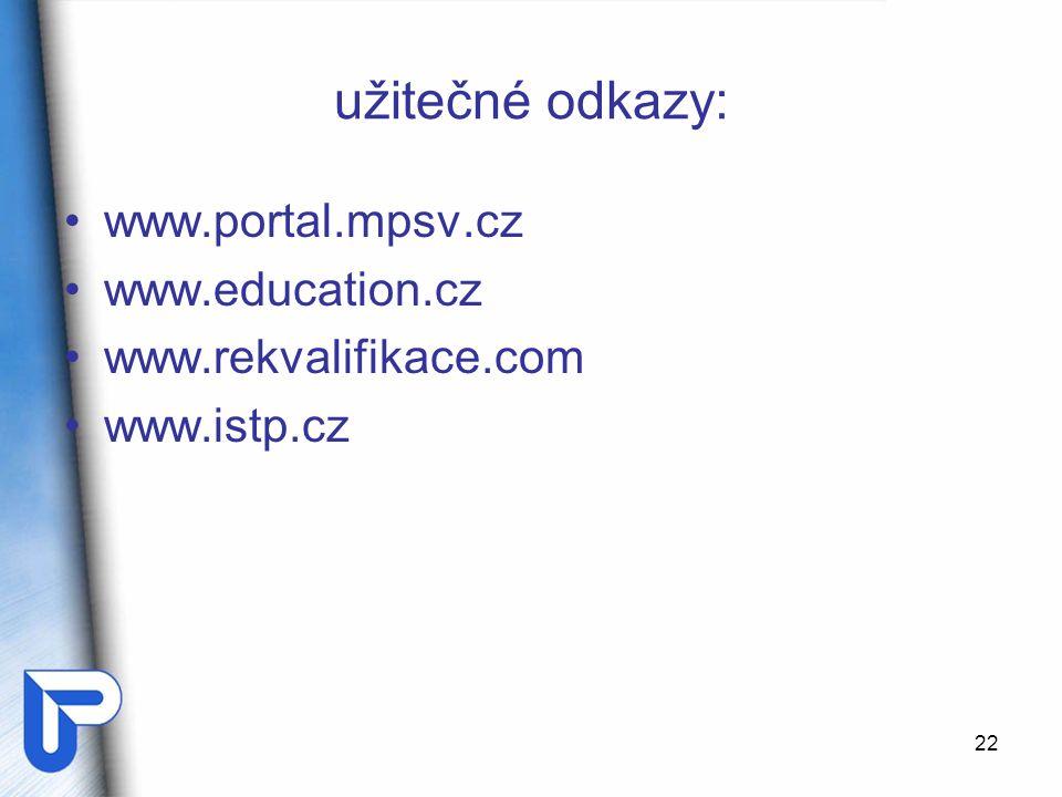 užitečné odkazy: www.portal.mpsv.cz www.education.cz
