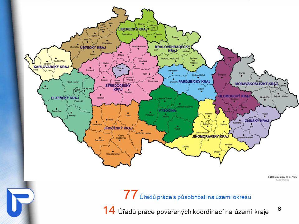 77 Úřadů práce s působností na území okresu