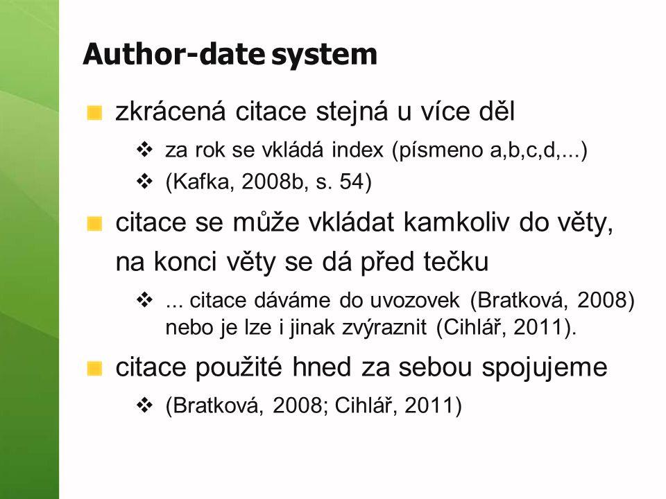 Author-date system zkrácená citace stejná u více děl