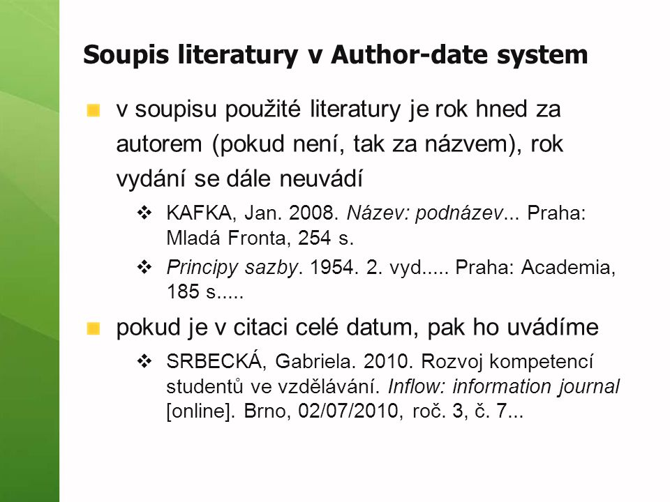 Soupis literatury v Author-date system
