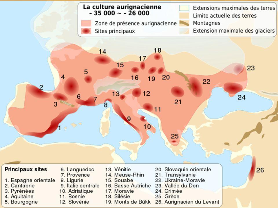 Aurignacien První skutečně mladopaleolitická industrie vyrobená s největší pravděpodobností moderními lidmi.