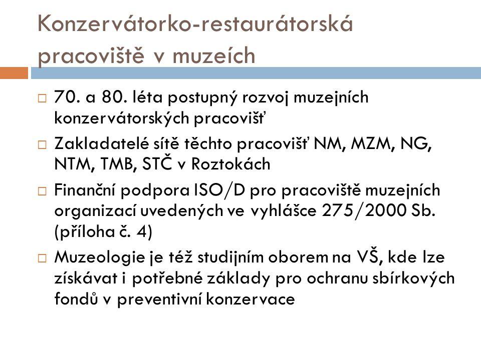 Konzervátorko-restaurátorská pracoviště v muzeích