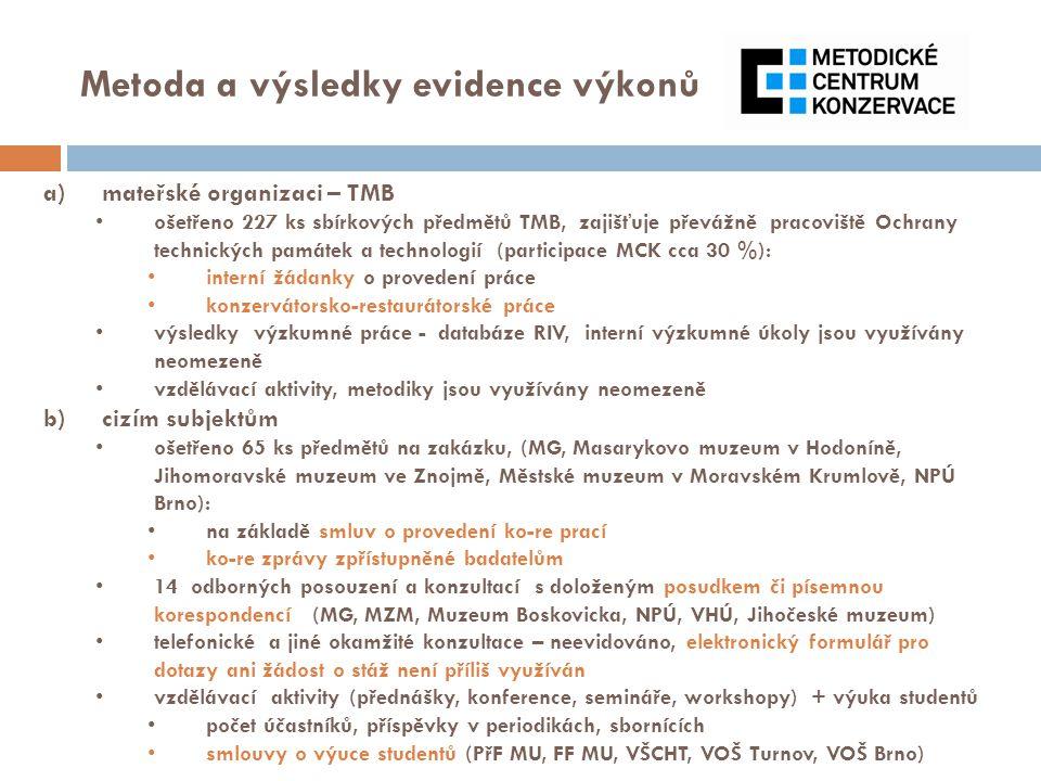 Metoda a výsledky evidence výkonů